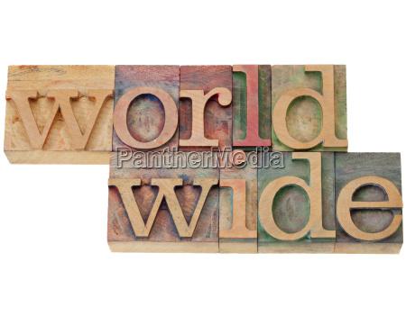 worldwide word in letterpress type