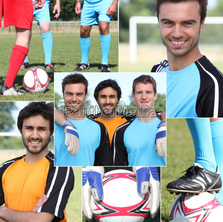 collage of young men football players
