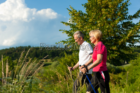 happy elderly couple nordic walking in