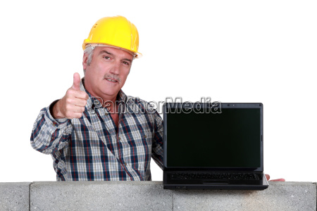 approving tradesman embracing technology