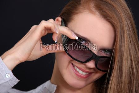 female model with sunglasses