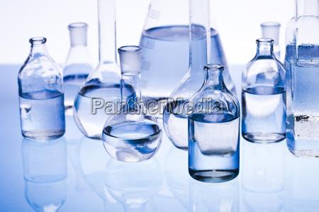 blue chemistry vials laboratory