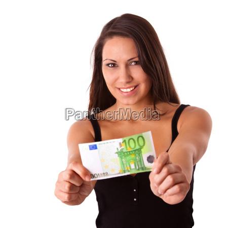 frau mit 100 euro schein