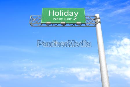 highway sign urlaub