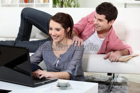 young couple relaxing at home