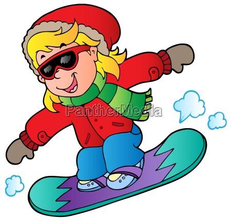 cartoon maedchen auf snowboard