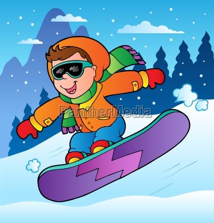 winterszene mit jungen auf snowboard
