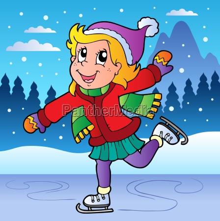 winter scene with skating girl