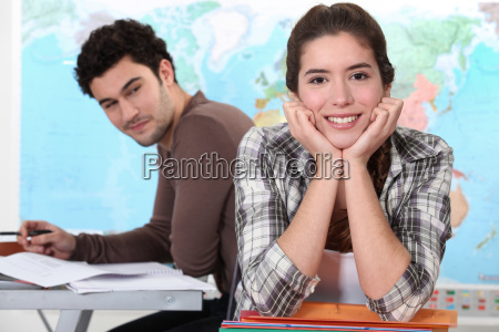 two students in geography classroom
