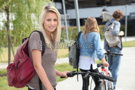beautiful girl go to the university