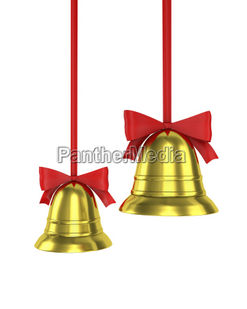 two christmas bells with red ribbons