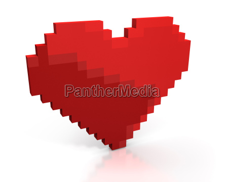 red heart made of cubic pixels