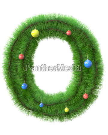 o letter made of christmas tree