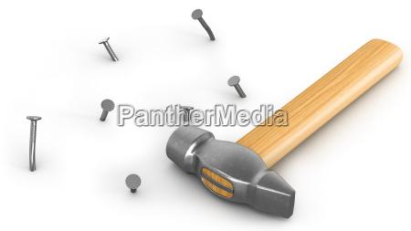 hammer mit wenigen gehaemmerten und gebogenen