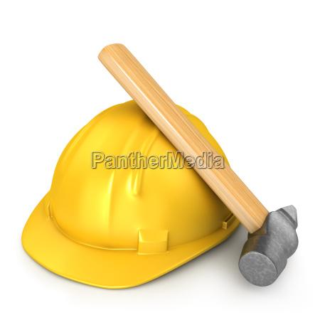 new yellow helmet with hammer