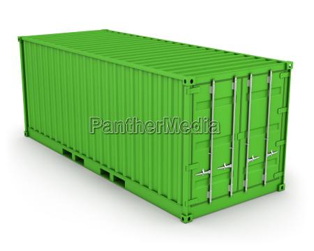 gruener frachtcontainer isoliert