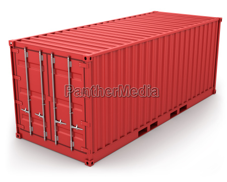 red frachtcontainer isoliert