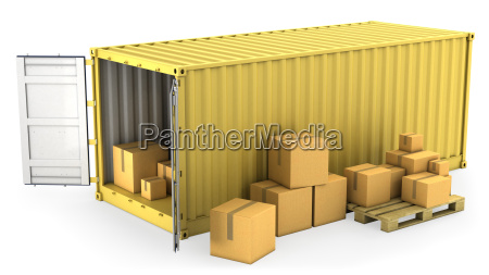 yellow opened container with a lot