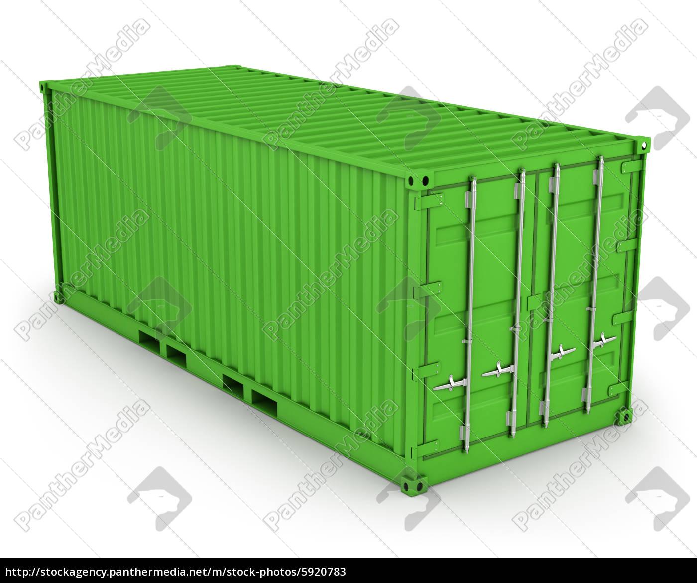 grüner, frachtcontainer, isoliert - 5920783
