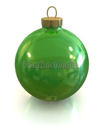 green christmas glossy ball and shiny