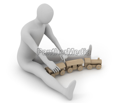 3d white man plays with wooden