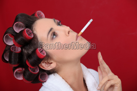 smoking woman with her hair in