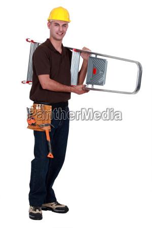 a handyman carrying a ladder
