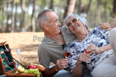 senior couple having a romantic picnic