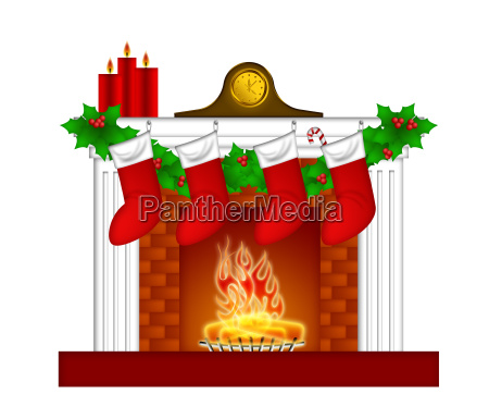 fireplace christmas decoration wth stockings and