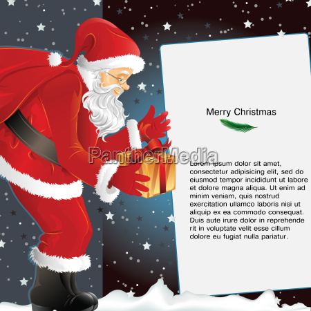 christmas background with santa holding gift
