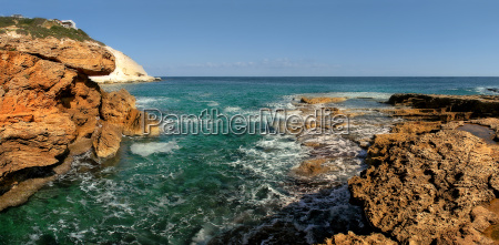 panoramic view on rocks and mediterranean