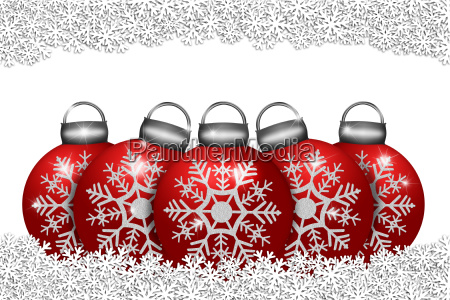 five red ornaments sitting on snowflakes
