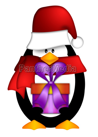 penguin with santa hat with present