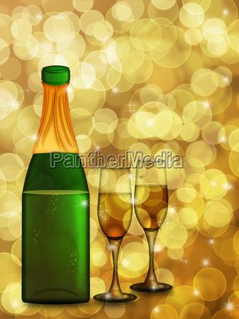 champagnerflasche und zwei glasfloeten