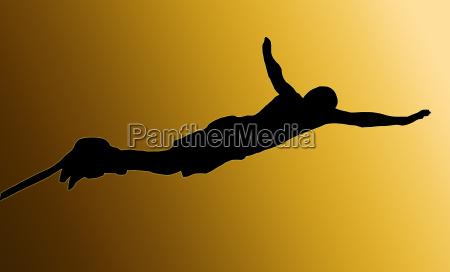 goldene zurueck maennlich bungee jumper