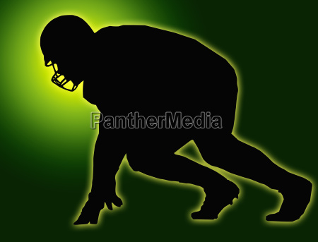 green glow silhouette american football player