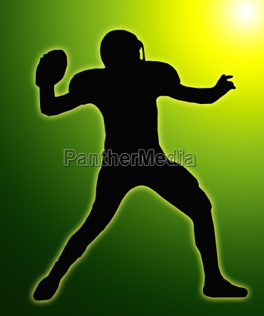 green glow silhouette american football quarterback