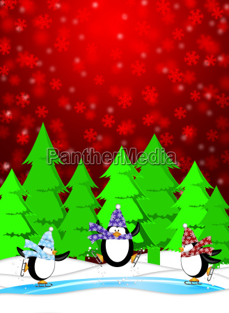 penguins in eislaufplatz winter szene schneien