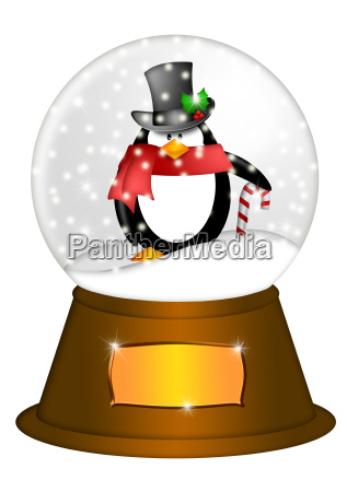 water snow globe with penguin and