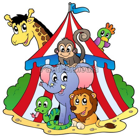 various animals in circus tent