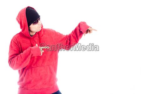 hip hop man in red hoody