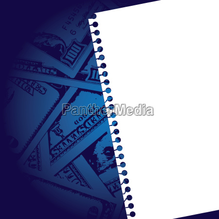 notebook paper with background of money