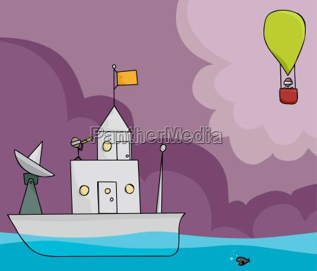 schiff und ballon