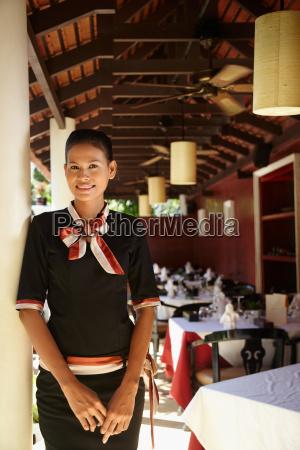 portrait of asian waitress working in