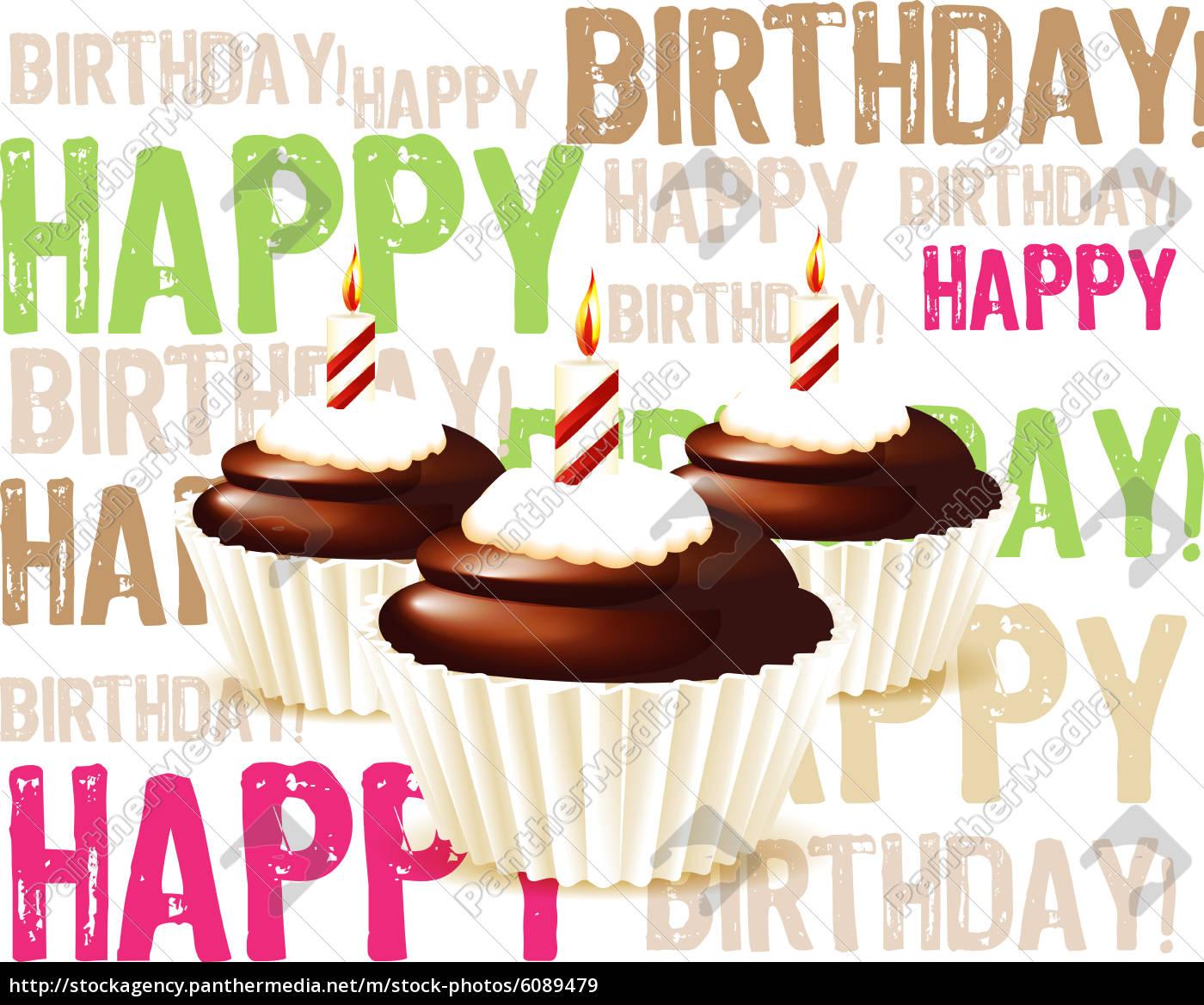Grusskarte Von Schokolade Geburtstag Cupcake Mit Kerze Lizenzfreies