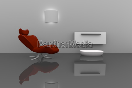 modern interior with a red chair