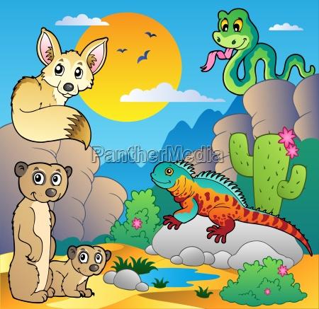 desert scene with various animals 4