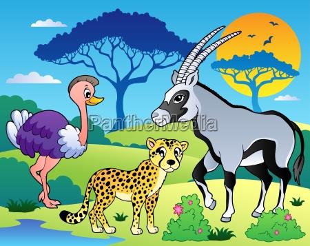 savannah scenery with animals 7