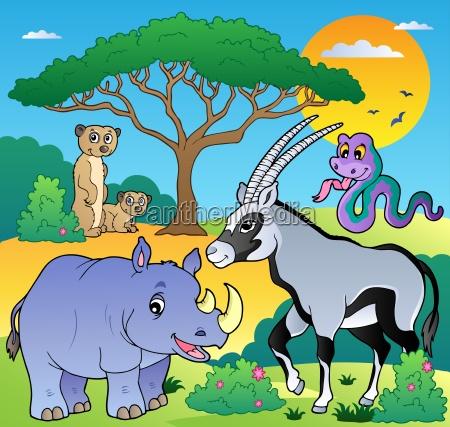 savannah scenery with animals 1