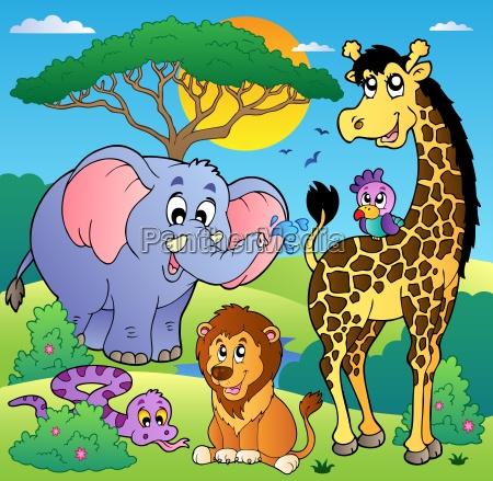 savannah scenery with animals 2
